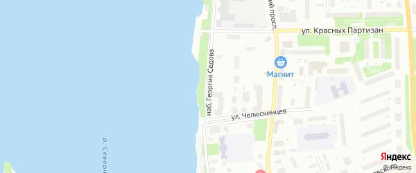 Набережная Георгия Седова на карте Архангельска с номерами домов