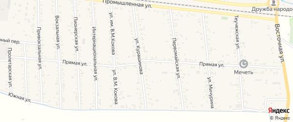 Прямая улица на карте аула Кошехабль с номерами домов