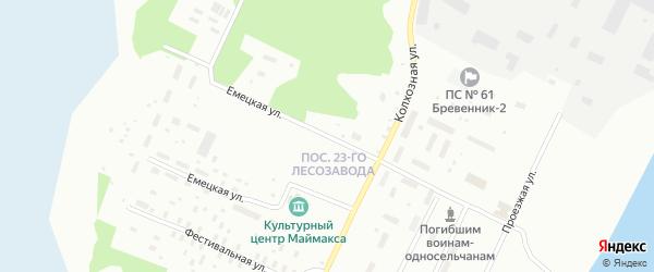 Емецкая улица на карте Архангельска с номерами домов