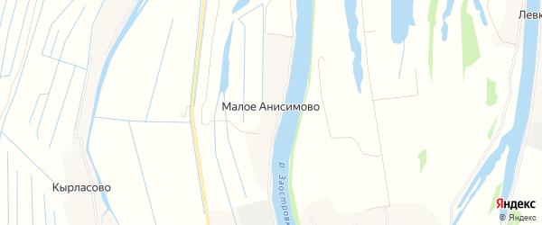 Карта деревни Малое Анисимово в Архангельской области с улицами и номерами домов