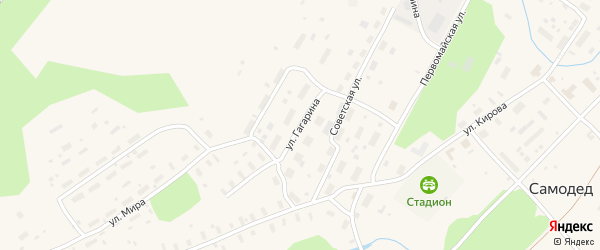 Улица Гагарина на карте поселка Самодед с номерами домов