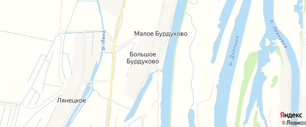 Карта деревни Большое Бурдуково в Архангельской области с улицами и номерами домов
