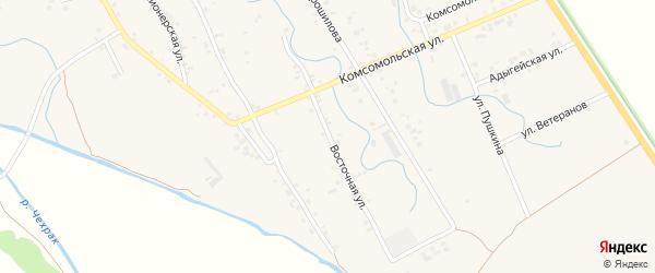Восточная улица на карте аула Блечепсин с номерами домов