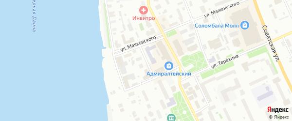 Широкий переулок на карте Архангельска с номерами домов