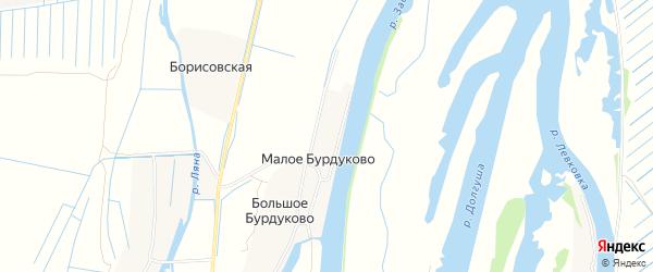 Карта деревни Малое Бурдуково в Архангельской области с улицами и номерами домов