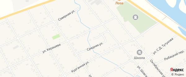 Средняя улица на карте аула Кошехабль с номерами домов
