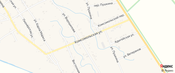 Комсомольская улица на карте аула Блечепсин с номерами домов