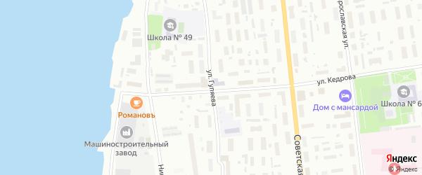 Улица Гуляева на карте Архангельска с номерами домов