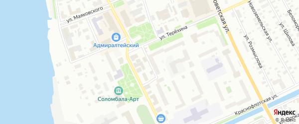 Малоникольская улица на карте Архангельска с номерами домов