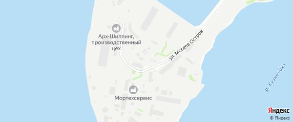 Остров Мосеев на карте Архангельска с номерами домов