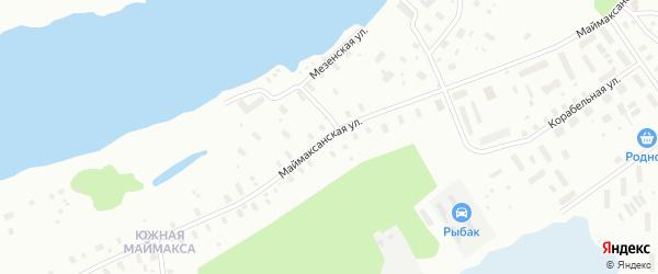Маймаксанская улица на карте Архангельска с номерами домов