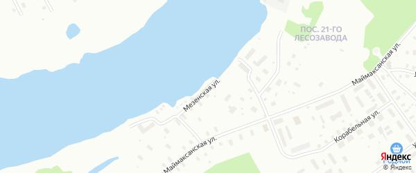 Мезенская улица на карте Архангельска с номерами домов