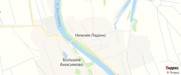 Карта деревни Нижнее Ладино в Архангельской области с улицами и номерами домов