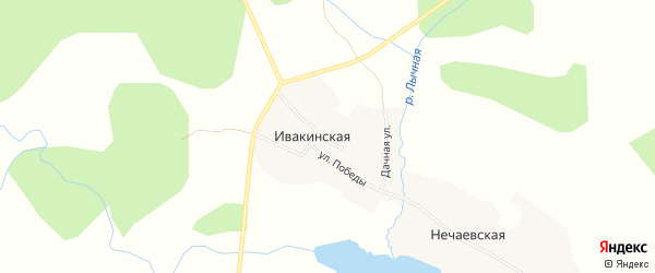 Карта Ивакинская деревни в Архангельской области с улицами и номерами домов