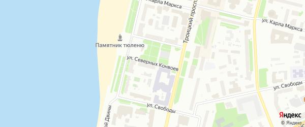 Улица Северных конвоев на карте Архангельска с номерами домов