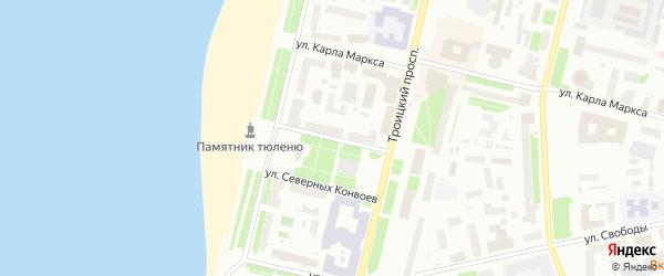 Улица Героя Советского Союза Петра Норицына на карте Архангельска с номерами домов