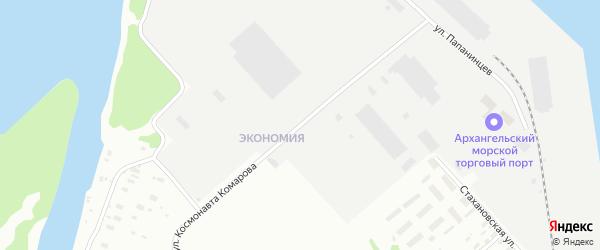 Улица Космонавта Комарова на карте Архангельска с номерами домов