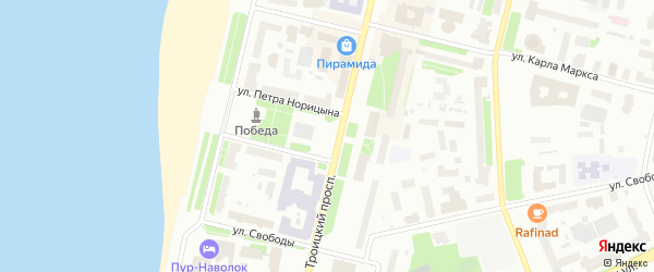 Площадь Павлина Виноградова на карте Архангельска с номерами домов