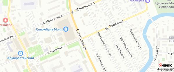 Улица Терехина на карте Архангельска с номерами домов