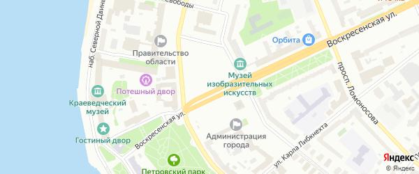 Площадь В.И.Ленина на карте Архангельска с номерами домов