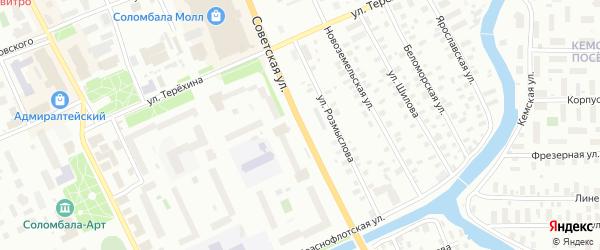 Советская улица на карте Архангельска с номерами домов