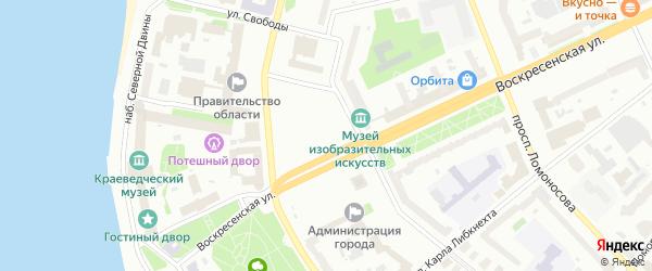 Сквер Писахова на карте Архангельска с номерами домов