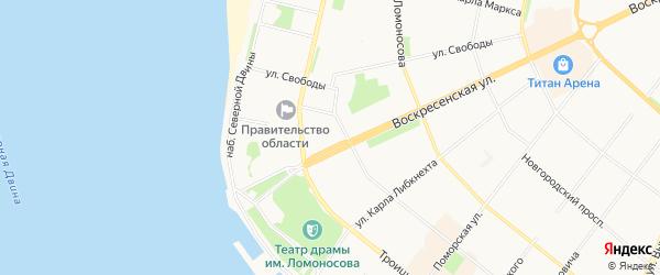 Карта садового некоммерческого товарищества Еловки города Архангельска в Архангельской области с улицами и номерами домов