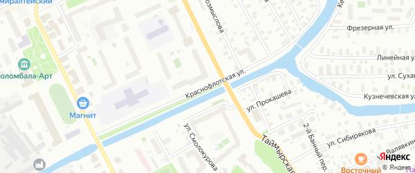 Краснофлотская улица на карте Архангельска с номерами домов