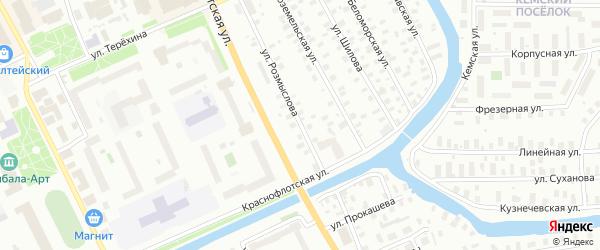 Улица Розмыслова на карте Архангельска с номерами домов