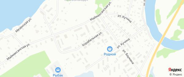 Корабельная улица на карте Архангельска с номерами домов