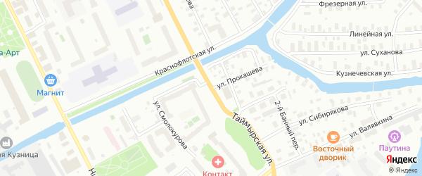 Улица Прокашева на карте Архангельска с номерами домов