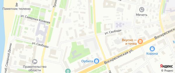 Улица Свободы на карте Архангельска с номерами домов