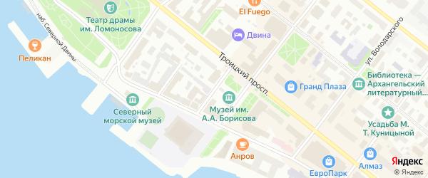 Театральный переулок на карте Архангельска с номерами домов