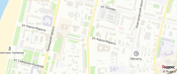 Улица Карла Маркса на карте Архангельска с номерами домов