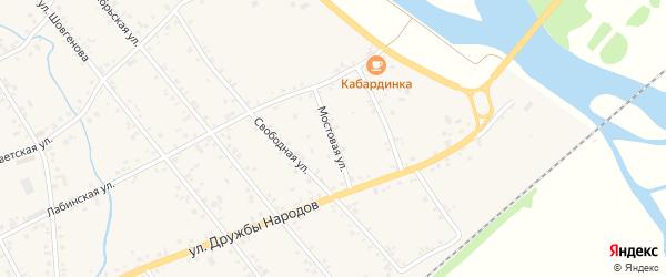 Мостовая улица на карте аула Кошехабль с номерами домов
