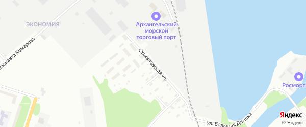 Стахановская улица на карте Архангельска с номерами домов