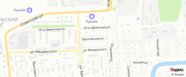 Балтийская улица на карте Архангельска с номерами домов