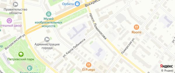 Улица Карла Либкнехта на карте Архангельска с номерами домов