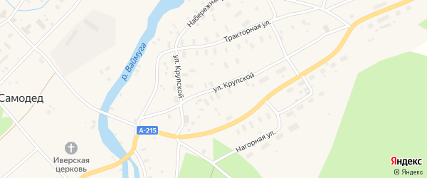 Улица Крупской на карте поселка Самодед с номерами домов
