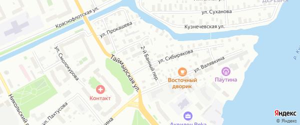 Банный 2-й переулок на карте Архангельска с номерами домов