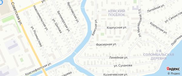 Кемская улица на карте Архангельска с номерами домов