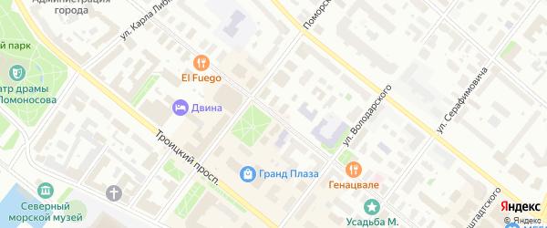 Проспект Чумбарова-Лучинского на карте Архангельска с номерами домов