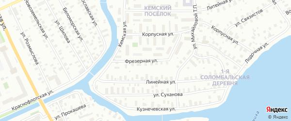 Фрезерная улица на карте Архангельска с номерами домов