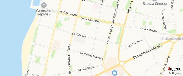 ГСК Август на карте улицы Попова с номерами домов