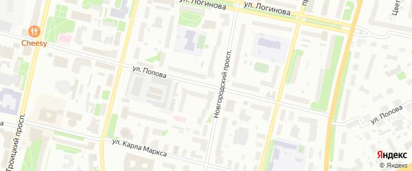 Улица Попова на карте Архангельска с номерами домов