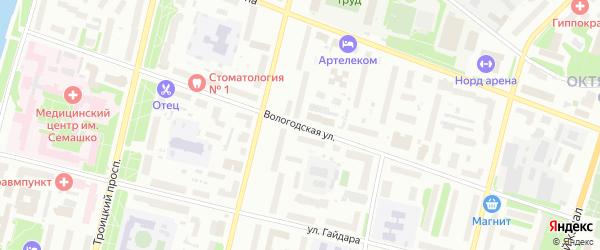 Вологодская улица на карте Архангельска с номерами домов