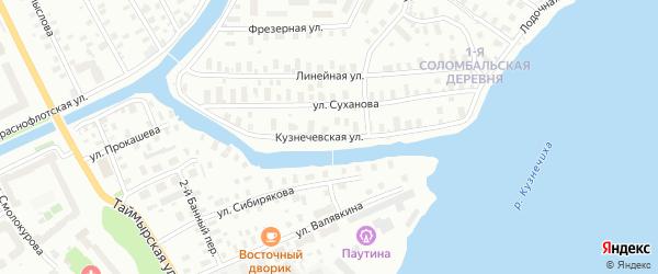 Кузнечевская улица на карте Архангельска с номерами домов