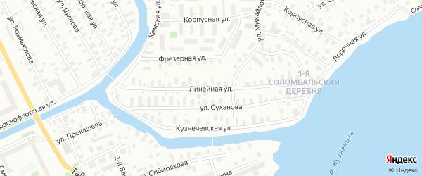 Линейная улица на карте Архангельска с номерами домов