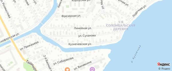 Улица Суханова на карте Архангельска с номерами домов