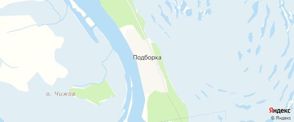 Карта деревни Подборки в Архангельской области с улицами и номерами домов